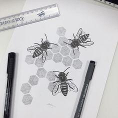 A4 Pointillism drawing of honey bees. B E E happy  // Melissa Malice  #SaveTheBees #Pointillism #Dotwork #HoneyBee