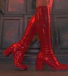 Killer red leather bootsso sexy and badass