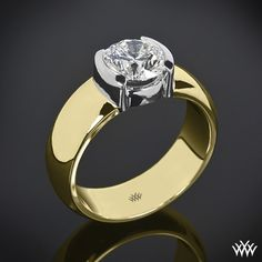 photos of wide yellow gold band with half bezel set round diamond - Google Search
