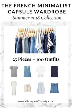 French Minimalist Capsule Wardrobe: Summer 2018 eBook - There are 100 outfit ideas included from just 25 modern, neutral color clothes and shoes, most you may already have in your closet! Also included is a capsule wardrobe creation guide, visual clothes/shoes/accessories guide with convenient shopping links for both regular and plus sizes, a checklist, travel packing guide and more!