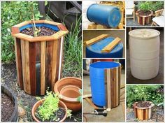 plastic rain barrel for planters Plastic Barrel Ideas, Plastic Barrel Planter, 55 Gallon Drum, Flower Garden Design, Diy Planters, Pallet Planters, Garden Pots, Container Gardening, Flower Pots