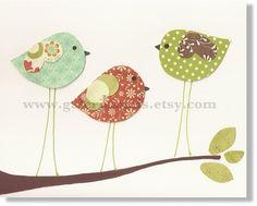 Estampes d'art pour chambre de bébé - bébé enfants de décoration - art mural pour enfants - chambre de bébé chambre décor - art mural de chambre de bébé - oiseaux - Three Little Birds imprimer