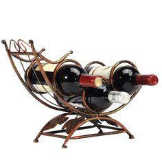 Amazon.com - Antique Rocking Chair Design Bronze Tone 3 Bottle Tabletop Wine Rack Display Organizer Holder Stand -