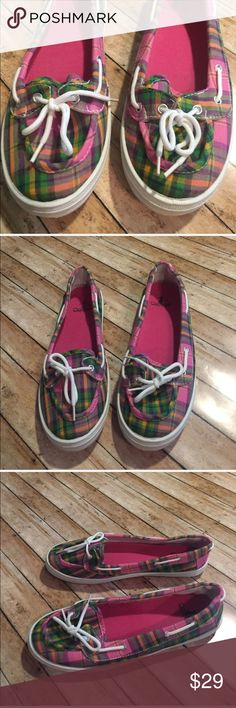 Corky's Plaid Slip on Loafers Brand:  Corkys  Color: Plaid Pink, Purple, Green & Orange   Size:10  Condition: EUC (Only Worn 2x )  ❌Trades❌  ⚡️I ship lightening fast⚡️  🎉Discounts with bundles🎉 Corkys Shoes Flats & Loafers