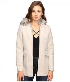 Brigitte Bailey - Orla Zip-Up Coat with Faux Fur (Beige) Women's Coat
