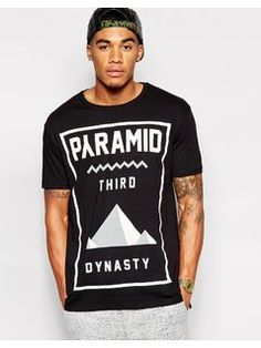 ASOS Longline T-Shirt With Pyramid Print and Split Hem - Black