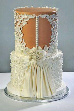 Amazing Wedding Dress Cakes For Your Bridal Shower ★ dress cakes 18 Gorgeous Cakes, Pretty Cakes, Cute Cakes, Awesome Cakes, Fondant Cakes, Cupcake Cakes, Wedding Dress Cake, Wedding Dresses, Lace Wedding