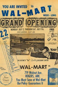 This is the first ever Walmart ad from 1962. See? It doesn't matter if your ads have no design sense and don't understand proper punctuation - you too could be a bazillion dollar company!