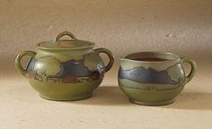 Sugar and creamer, Rhead Pottery, 1914-1917. Collection of Los Angeles County Museum of Art.