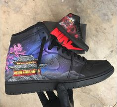 We used pictures from South Korean and Samurai culture to make these shoes a work of art. The first shoe has a galaxy background with a beautiful Cherry-Blossom tree and an old Korean building. The other shoe has a Samurai Suit and the Virtues of Bushido on red throughout the shoe, with a red smoky background.