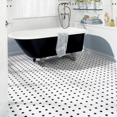 Contemporary Black And White Mosaic Tile Floor American Olean