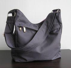 Sale  Grey Cotton Hobo Bag Purse Tote Messenger bag by tippythai