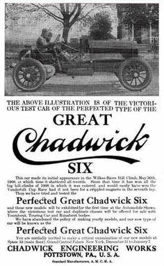 1909 Chadwick  Automobile Advertisement