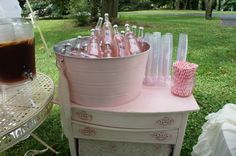 Pink sparkling lemonade perfect for a all pink baby shower