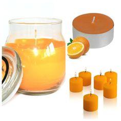 #Orange #ScentedCandles Collection. Glass #jarcandle  #scentedvotivecandles  #scentedtealights #homefragrance