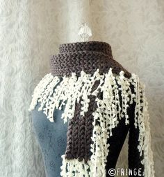 Espresso Fringe Scarf  Dark Chocolate Brown and Cream by fringe, $64.00