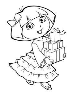 ausmalbild Geburtstag Dora