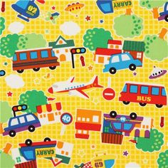 yellow vehicle oxford fabric for boys by Kokka from Japan