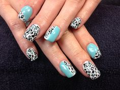Desa's nails. Teal, white and cheetah print gel nail art.