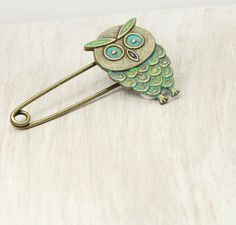 Owl Pin Owl Brooch Teal Owl Owl Jewelry by PureImpressions on Etsy, $7.00