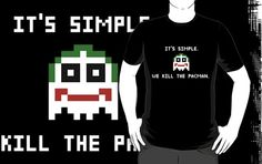 Joker It's Simple We Kill The Pacman Shirt Batman Parody Tee | Visit www.shirtminion.com/2015/02/its-simple-we-kill-the-pacman-shirt-joker | It's simple we kill the Pacman shirt. Funny T shirt featuring a pacman ghost in the guise of The Joker. A funny retro batman parody for video gaming geeks. It may be a terrible pun for some, but I find it hilarious!