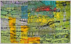 """Linescape #36 (Bridges)"" by Ayn Hanna - textile painting"
