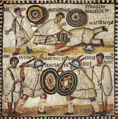 Mosaic with the scene of gladiatorial fight (so-called Simmachius mosaic). Marble, limestone and glass paste. Ancient Egyptian Art, Ancient History, European History, Ancient Aliens, Ancient Greece, American History, Ancient Rome Gladiators, Marshal Arts, Rome Antique