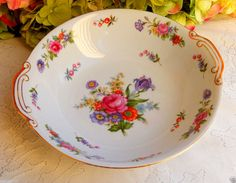 Beautiful Wentworth Porcelain Handled Serving Bowl ~ Dresden ~ Flowers ~ Gold #Wentworth