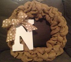Monogram Burlap Wreath with Burlap Bow. Front by TheBurlapBeagle, $40.00
