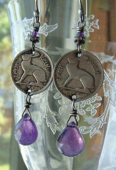 Vintage 1962 Irish Hare Coin Dangle Earrings by CobwebPalace