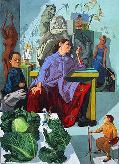 The Artist in Her Studio, 1993. O meu quadro favorito de Paula Rego. Cores fortes e dominantes, uma diversidade de coisas a rodear a artista que está pensativa á busca de inspiração.