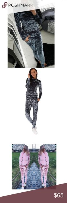 Blue grey crushed velvet two piece tracksuit Blue grey silver super soft and cozy two piece track suit. Fits true to size. Crushed velvet. Slim fit sweater and matching joggers. Trendy sweat suit, can be worn in the house or out! Must have lounge wear!! The pink sweatsuit is shown for style and fit (also available in my store!)  Pants Track Pants & Joggers