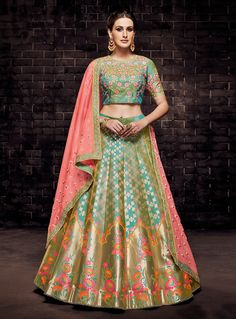 Rama Green and Dusty Gold Designer Brocade Lehenga Choli Brocade Lehenga, Banarasi Lehenga, Ghagra Choli, Bridal Lehenga Choli, Sari, Anarkali, Green Lehenga, Choli Designs, Lehenga Designs