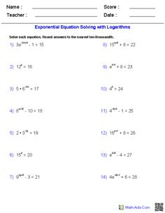 Worksheets Solving Logarithmic Equations Worksheet equation and worksheets on pinterest exponential equations requiring logarithms worksheets