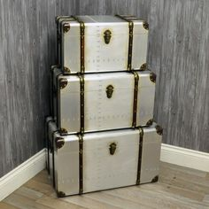 Set 3 Metal Effect Storage Trunk Chests