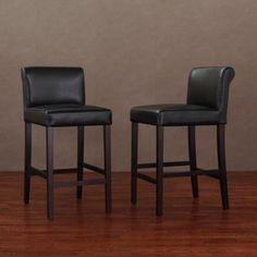 Cosmopolitan Black Leather Counter Stools (Set of 2) | Overstock.com Shopping - Great Deals on Bar Stools