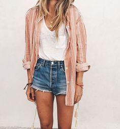 my travel style. Button up shirt, high waisted shorts, and a plain white tee