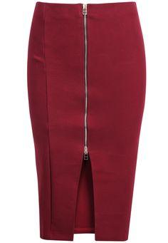 Falda de lana cremallera-rojo
