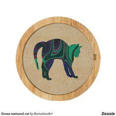Green textured cat cheese platter