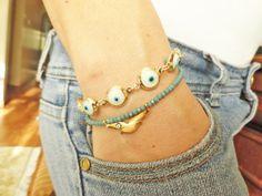 Evil eye bracelet set white bird charm mother by Handemadeit, $19.00