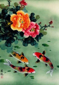 1:24 Half Scale KOI FISH & BLOSSOMS Dollhouse Picture - Framed Art - MADE IN USA