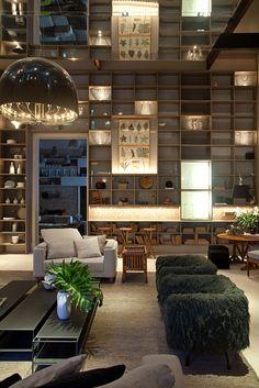 estante iluminacao Living Room Interior, Home Interior, Living Room Decor, Interior Design, Home Design Decor, House Design, Home Decor, Hearth Stone, White Walls