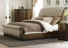 Liberty Furniture Cotswold Collection Queen Sleigh Bed with Sleigh Headboard and Footboard, Tufted Linen Upholstery and Bun Feet in Cinnamon Finish Royal Furniture, Liberty Furniture, Bedroom Furniture Stores, Bed Furniture, Furniture Outlet, Online Furniture, Cheap Furniture, Discount Furniture, Furniture Movers
