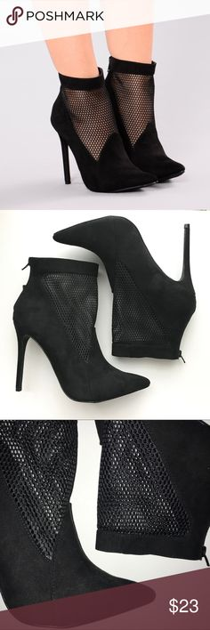 MESH Ankle Booties -BRAND NEW! Never worn. I accidentally bought 2 pairs -Comes in a pink drawstring bag -4.5 inch heel -Pointed toe -Faux Suede & Mesh -Back Zipper Shoes Heels
