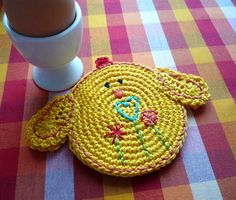 Crochet DoubleFaced Chick Coaster Easter Spring by MonikaDesign, $19.00