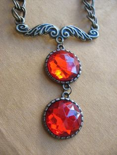 Red Jewel and Gold Chain Necklace by arianaalysedesigns on Etsy, $20.00
