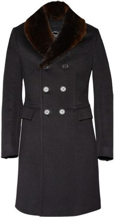 Black Prorsum Fur Collar Wool Coat by Burberry