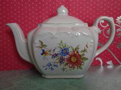 Sweet Vintage Floral Porcelain Teapot with Gold Trim