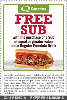 Get a free sub with purchase of sub expires 1/28/16