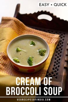 Cream of broccoli soup is a smooth, creamy and comforting soup made from broccoli. This broccoli soup can be served plain or with a toasted buttered bread or baguette. Vegetarian Vegetable Soup, Vegetable Soup Recipes, Veg Recipes, Recipes Dinner, Vegetarian Recipes, Broccoli Soup Recipes, Cream Of Broccoli Soup, Mushroom Soup Recipes, One Pot Meals
